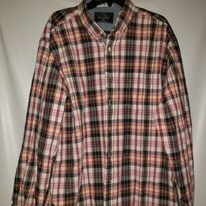 Mens Nautica Plaid Button Down Red & Blue Long Sle